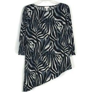 Chicos Womens Shirt Size 1=M/8 Black Zebra